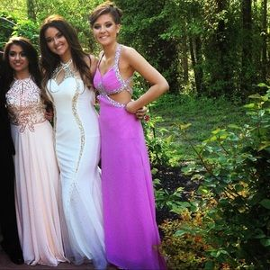 -White (middle gown) sequin beaded dress